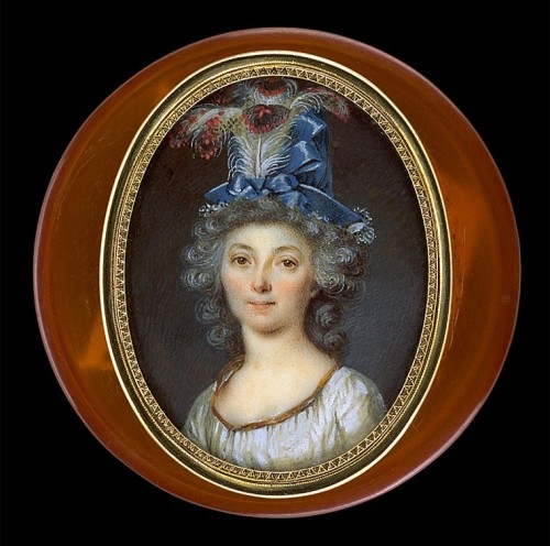 A portrait of a woman with a feather hat by Louis Marie Sicard, circa 1795
