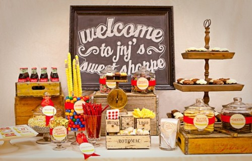 "Fun ""sweet shoppe"" inspired candy table"