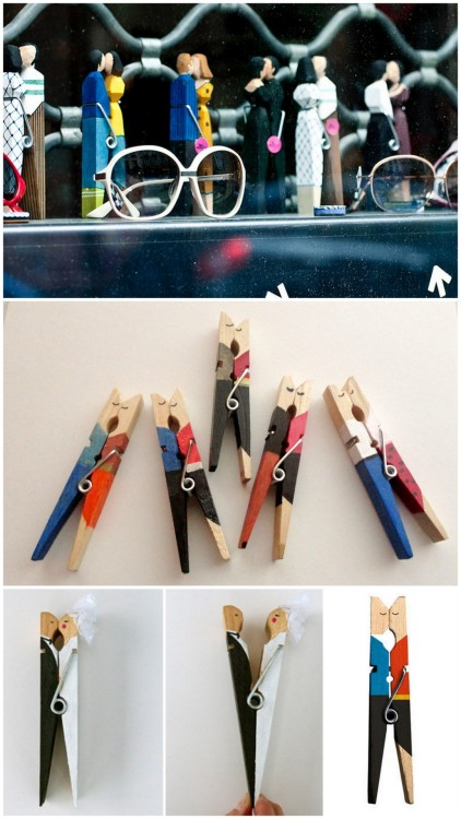 truebluemeandyou:  Four DIY and Inspiration Kissing Clothespins. Photos Top to Bottom: Kissing Clothespins in Paris, used with the permission of Grace Trivino of Gracey Photography here.  Etsy Kissing Clothespins - no longer listed here.  DIY Kissing Bride and Groom Clothespin Cake Topper here.  DIY Kissing Clothespin here.