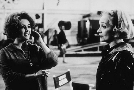 Marlene Dietrich visiting Liz Taylor on the set of Who's Afraid of Virginia Woolf in 1966