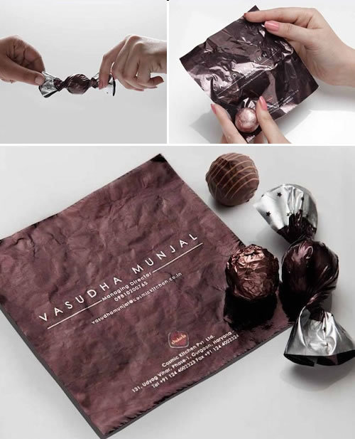 A business card with a sweet treat for premium chocolate boutique chain Choko la by Draftcb+Ulka agency.