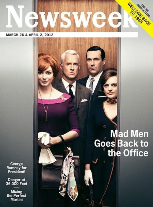 Newsweek marks the new series of Mad Men by going back to their original 1965 design via: Cover Junkie