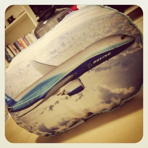 My custom made Dreamliner pillow is finally here! #avgeek #787 #Dreamliner #pillow  (Taken with instagram)