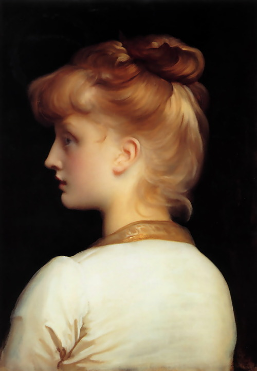 A Girl (date unknown) painted by Frederick Leighton (3 December 1830 – 25 January 1896)akaActor, Claire Skinner (Mum in Outnumbered) (1965 - Present)