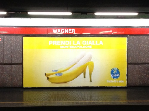 An ad for a banana brand that is using the local love of a particular underground line (the yellow one) and then station relevant executions…