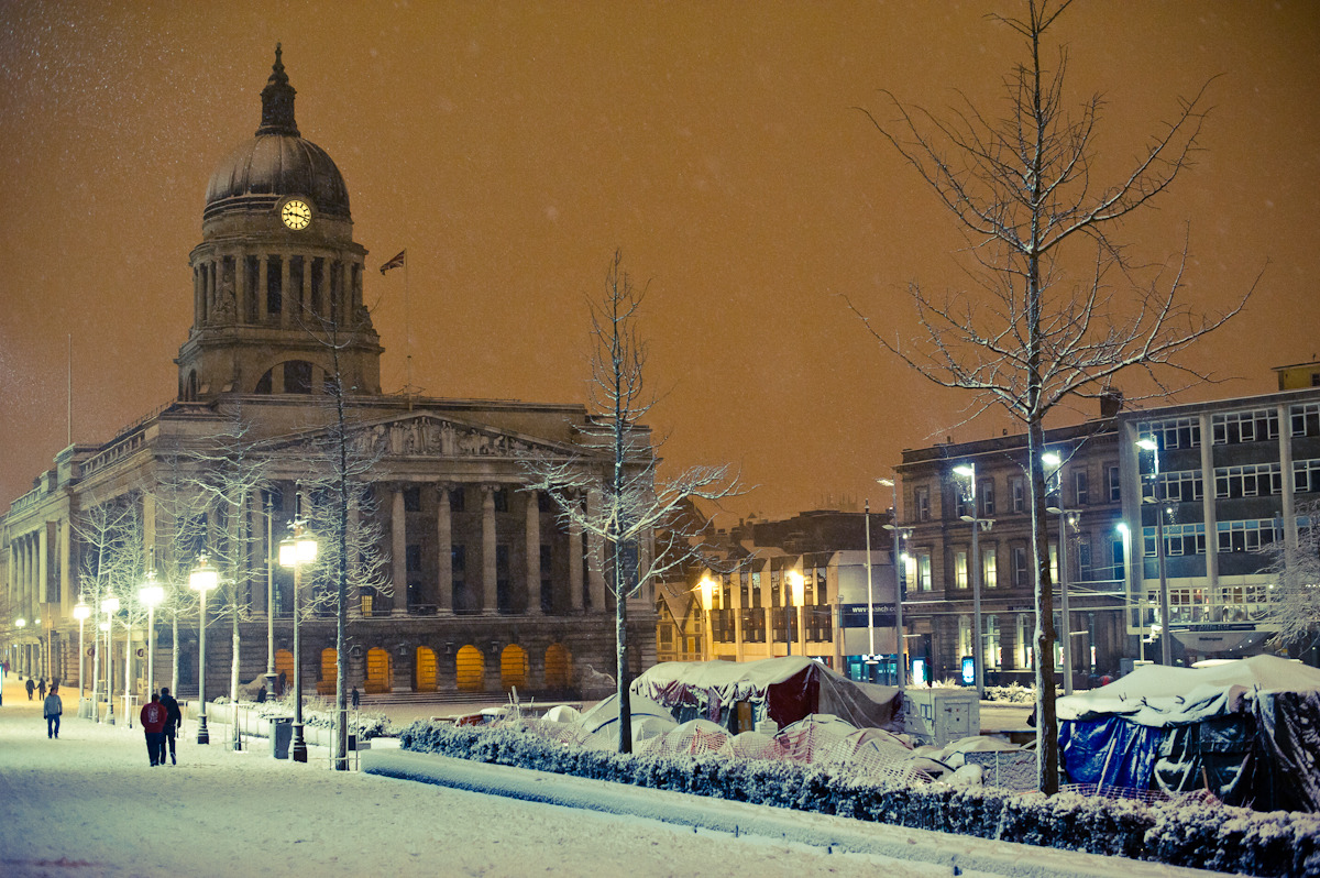 NOTTINGHAM MARKET SQUARE IN SNOW: personal shot from February 2012 I just wanted to get this shot from last month on my blog before the weather gets so warm that UK snow becomes a distant memory. Yes, that may well be wishful thinking.