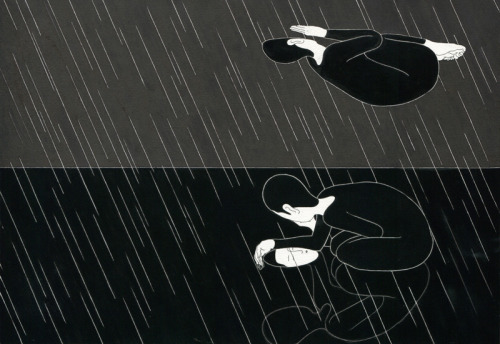 2headedsnake:  moonassi.com Daehyun Kim (Moonassi), 비에, When it rains, February 2012, 29.5 x 42cm, Ink on the paper  simply good