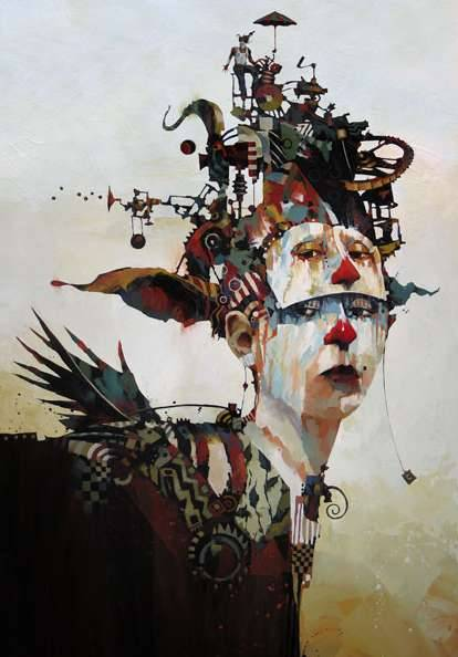 Bruce Holwerda Paints Mime-Like Subjects with Mechanical Heads