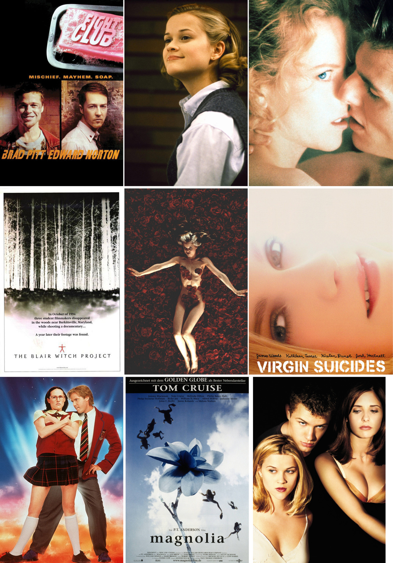 Favourite Movies Released in 1999 Inspired by NatashaVC's list of Personal Favourite Movies Released in 1999, SB & I made our own list. They are, in alphabetical order:  1. American Beauty 2. Austin Powers: The Spy Who Shagged Me 3. Boys Don't Cry (Just Bo) / Girl, Interrupted (Just SB) 4. Being John Malkovich 5. The Blair Witch Project 6. But I'm a Cheerleader 7. Cruel Intentions 8. Election 9. Eyes Wide Shut10. Fight Club11. The Green Mile12. Holy Smoke!13. Jawbreaker14. Magnolia15. Office Space16. Sleepy Hollow17. South Park: Bigger, Longer & Uncut18. Superstar19. The Talented Mr. Ripley20. The Virgin Suicides Honourable Mentions: 8MM (JOAQUIN IN BELLY SHIRTS! One of Bo's favourite Cagey hits!)10 Things I Hate About You (Heath! Julia Styles' hair! That two piece prom gown!)Dick (KiKi + Michelle Williams = Bliss!)Drop Dead Gorgeous (Kirsten Dunst invasion year!)Entrapment (Best use of of a badonk in the history of badonks!)Go (Introduced us to Olyphant!) What are your favourite movies released in 1999? *Edited because we forgot to put The Green Mile on our list & because I forgot to say What are your favourite movies released in 1999?
