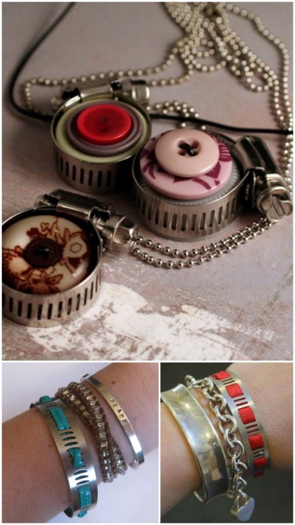 Three DIY Hose Clamp Jewelry Tutorials. Photos Top to Bottom: DIY Hardware Jewelry Pendant. Made of buttons, hose clamp and a plastic bottle cap here. DIY Hose Clamp Bracelet. Made of hose clamp, lacing here.  DIY $1.30 Home Depot Bracelet - the Red One. Made of hose clamp, ribbon here.