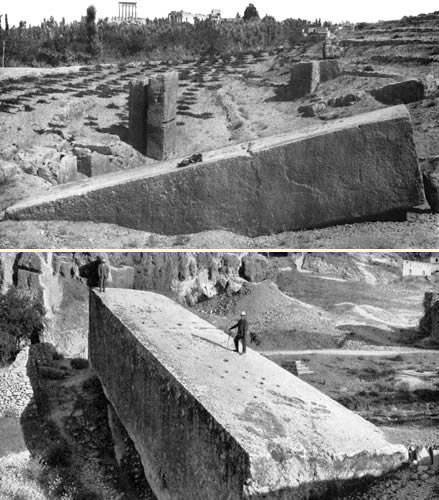 Giant stone left unmoved at the quarry at Baalbek Lebanon (some weigh up to 90+ tons 180,000 pounds+)