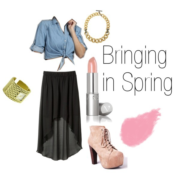 Bringing in Spring by passiion-jonesz featuring high heel bootsCropped shirt, $25Chiffon skirtJeffrey Campbell high heel boots, $160Lanvin cord necklace, $1,350Gold diamond bangle, $42Bobbi Brown Cosmetics blush, $24Lipstick, $15