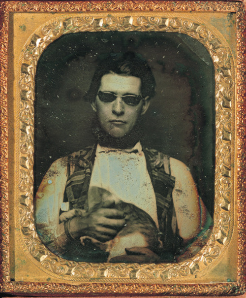 ca. 1850, [daguerreotype portrait of a blind gentleman holding a cat] via the George Eastman House Collection, Still Photograph Archive