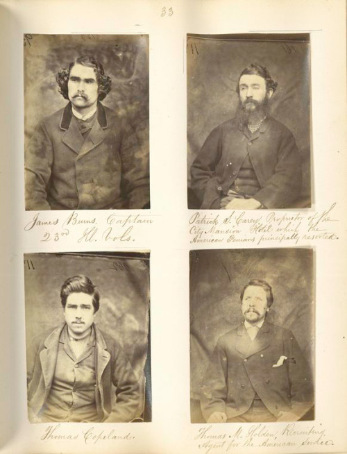 "Today's Mustache Monday comes from the NYPL's ""Mountjoy Prison Portraits of Irish Independence: Photograph Albums in the Thomas A. Larcom Collection."" The two albums in the collection originally belonged to Sir Thomas Aiskew Larcom (1801-1879), the permanent Under Secretary for Ireland from 1853 to 1869. Identified as felons and Fenian political prisoners, the subjects of these photographs include some of the leaders of the Fenian Brotherhood and its Irish wing, the Irish Republican Brotherhood. Clearly the photographer felt their incarceration to be unjust; in a letter to Mr. Larcom, pasted inside one of the albums, he writes, ""You asked me some months ago to get you the photographs of the convicted and untried political prisoners who have been confined in Mountjoy. // I now send you a most unique 'Book of Beauty' … The camera is bad, but I am about to get a better, a really good one."" The Irish in the American Civil War blog also identifies several of these men as veterans. Lots of interesting history in the comments. Top left in this set is James Burns, Captain, 23rd Illinois Infantry. Born in England, he served in the ranks and reenlisted as a Veteran Volunteer before being wounded at Second Winchester in 1864."