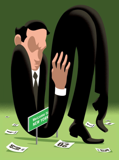 How the super-rich avoid taxes, illustration for the New Yorker by Christoph Niemann.