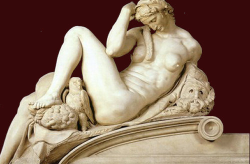 "incaseofflames:  -Night (Notte), Michelangelo, 1519-1534  ""Dear to me is sleep, and dearer to be of stone while wrongdoing and shame prevail; not to see, not to hear, is a great blessing: so do not awaken me; speak softly."""