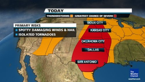 Severe weather is very likely for Central Texas, Oklahoma, Kansas, and other parts of the central USA today (3/19/2012).  Pay attention to weather alerts during the day since severe weather can intensify unexpectedly.  A similar pattern is likely to repeat tomorrow.