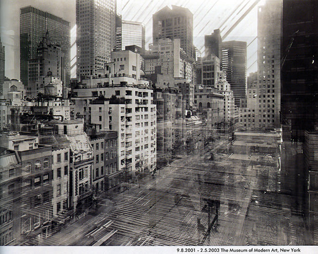 German photographer Michael Wesely has spent decades working on techniques for extremely long camera exposures — usually between two to three years. In the mid-1990s, he began using the technique to document urban development over time, capturing years of building projects in single frames. In 2001 he began photographing the Museum of Modern Art's ambitious renovation project.  And yeah, that's the sun and moon lighting up the background.