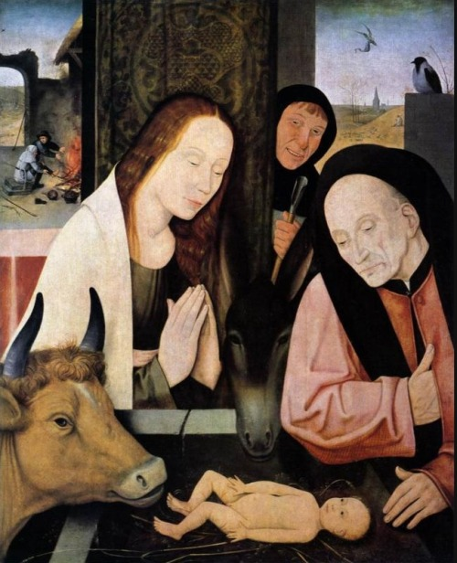 Hieronymus Bosch, Adoration of the Child  That cow is dangerously close to snacking on some baby dick.