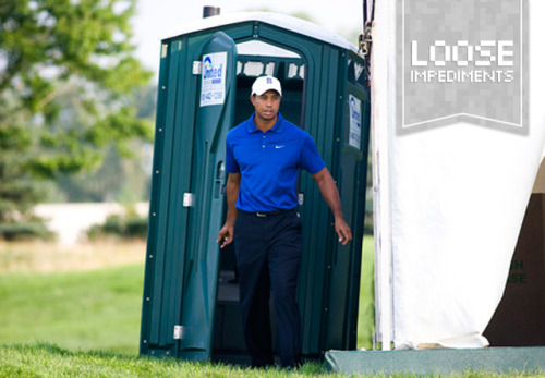 "thetickr:  Tiger, a Porta Potty and a Retweet Most people would give their left arm to meet or interact with their sports idol. If that sports idol is Tiger Woods you would think that would be close to impossible? Well, what if I was to tell you I've had not only one, but two separate run-ins with Mr. Woods. In 2007, Montreal was host to the 7th Presidents Cup at Royal Montreal Golf Club. I headed to Montreal with the intention of seeing the best golfers in the world face off and follow Tiger, of course. But what I didn't expect on that sunny late September day was to come face to face with my sports idol in a porta potty. That's right, a porta potty. Let me set the scene. Tiger had just hit his tee shot on the par-5 12th hole and with Tiger's drive measuring well over 300 yards, I thought it would give me enough time to hit up the cluster of porta potty's that aligned the fairway before he hit his next shot. As I was doing my business (#1, BTW) in one of the random potty's I heard what seemed to be a large group gathering outside the luxurious chalet-like building of porta potty's. The crowd noise got even louder as I slid the sticky plastic lock to the right and just as I was ready to open the door, it swung open, and there stood. Elderick. Tiger. Woods. With his driver in hand for some reason? As we stood looking at each other for what seemed like at least a minute, but in actuality it was probably more like two seconds, Tiger gave me a little nod and a ""hey"" as he slipped past me into the porta potty. In the time that it took me to go pee a huge crowd had gathered with security blocking off access to the porta potty's. As I walked out to wash my hands I felt like I was on stage as most of the crowd laughed at the shock on my stunned face. I remember it like it was yesterday. Too cool. My second run-in with Tiger came just over a week ago, on my birthday. Tiger doesn't tweet much, but I noticed on my birthday he tweeted something about his endorsement deal with Rolex. So I thought why not try and send him a timely tweet with the idea of getting him to give me a shout out on my birthday. A couple of hours past, I had totally forgotten that I had sent the tweet when suddenly my phone started to explode with tweets and texts congratulating me that I had gotten a birthday tweet shout out from Tiger. At this point my data plan was working overtime for the rest of the night and next day, I was completely speechless.  Shout out. RT: @ryanwatt It's my bday today. Any chance for a bday shout out? BTW nice 62 on Sunday — Tiger Woods (@TigerWoods) March 7, 2012 For my entire adult life, Tiger has been my sporting idol, ever since he rolled in that final putt as a twenty-one year old to win his first Masters. Although he's had his share of problems over the last two plus years the two experiences outlined above have solidified my bromance."