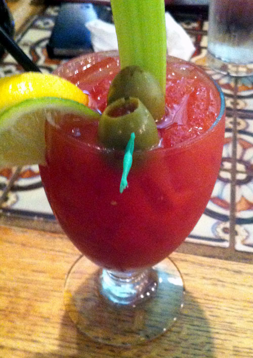 Van Helsing Bloody Mary at Casa Nueva in Athens, Ohio Garlic & Black Peppercorn (in-house) infused vodka, house-made Bloody Mary Mix. One last Athens-related post, since we made it to the Sweet 16 and all last night. GO BOBCATS!!! BEAT UNC (ha)!!!