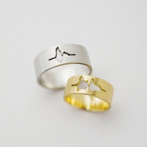 "inspirationfeed:  Sound Wave ""I Do"" Wedding Rings Custom made wedding bands with waveform of couple's own voices.""I Do"" Ring offers a unique opportunity to own a timeless representation of your partner's voice. Email to order"