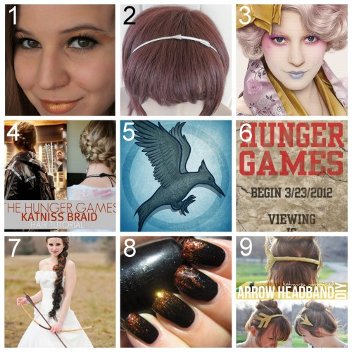 truebluemeandyou:  Nine Hunger Games Crafts, DIYs, Inspiration, Makeup, Nails, Poster etc… It's harder than I thought to find really good Hunger Game Tutorials other than the ones I've already posted here and here. But I like these: Hunger Games Inspired Makeup by A Flattering Tale here. Etsy Katniss Arrow Headband $23 here. Really lovely in closeup photos. Fan-Made Effie Trinket Makeup Video here. Katniss Braid Video by Samii Ryan here. How to Draw a Mockingjay Step by Step by DragoArt here. Fan Made Movie Poster: The 74th Annual Hunger Games Begin 3/23/2012 Viewing is Manatory here. Amazing Hunger Games Themed Wedding with tons of photos at The Wedding Chicks here. DIY Girl on Fire Nails and tons of Nail Photos of all 12 (every district represented) China Glaze: The Hunger Games Collection Nail Polishes at ommorphia beauty bar here. If you love nail polish you will probably love this post. DIY Katniss Inspired Golden Arrow Headband by Beetle Bailey here.