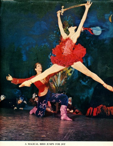 Maria Tallchief in Balanchine's Firebird (NYC Ballet) from the 1950's. This might be THE leap of the 20th century. Captured on film! Shit yes!
