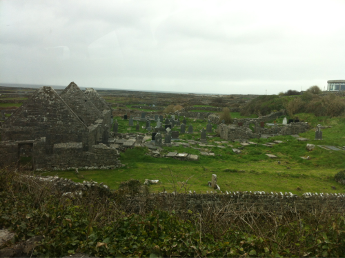 Old cemetery and crumbling churches on the largest of the 3 Aran Islandsl