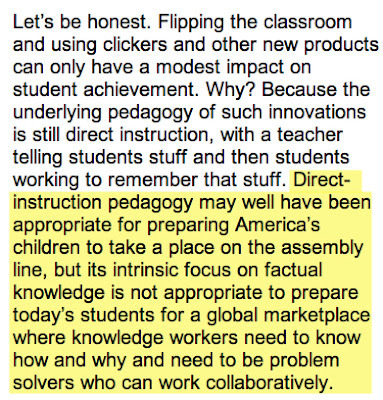 gjmueller:  Direct Instruction Is Killing Us  You actually get your edtech card revoked if you haven't expressed that idea in a forum recently. The direct instruction = assembly line worker thing is has become the edtech equivalent of you're defending the status quo or you're saying poverty is destiny or we need to think about what's good for the kids, not the adults.   I dunno.