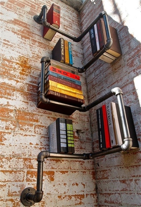 cabbagerose:  tube bookshelves via:arlynreid
