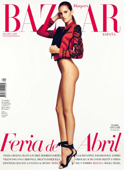 @iza_goulart wears a jacket by Emilio Pucci in Harper's Bazaar Spain April 2012
