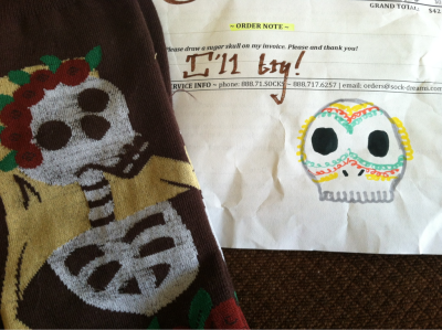 New socks from Sock Dreams. Complete with sugar skull on the invoice. As requested.
