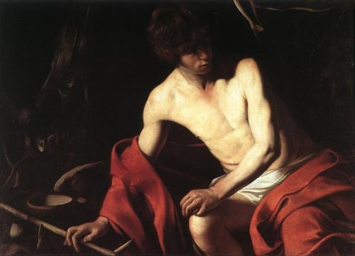 "caravaggista:  Caravaggio, Saint John the Baptist in the Wilderness, c. 1604. Or, Should art be left to the ""professionals""?"