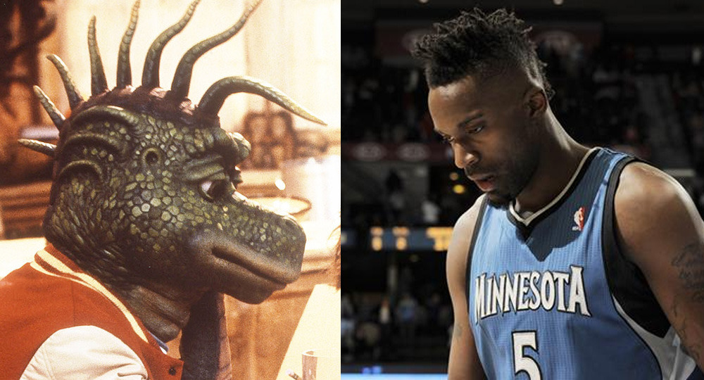 Paging NBA Doppelgangers: Robbie Sinclair from Dinosaurs and Martell Webster.  [pic via]