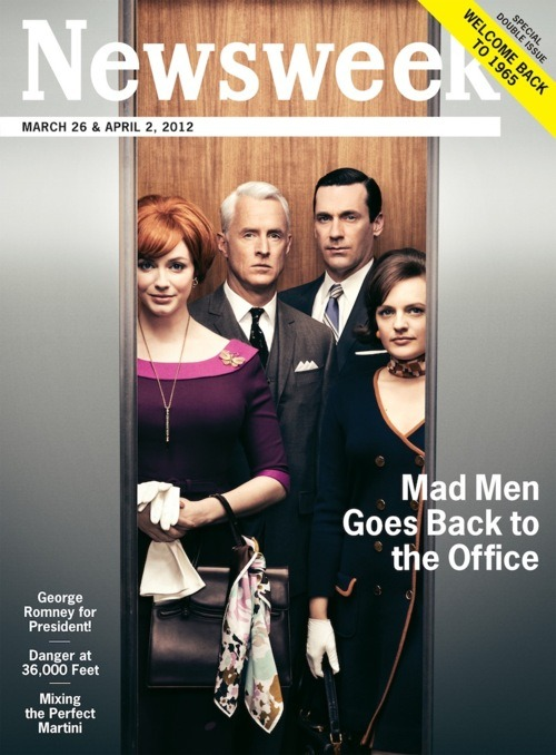 andrewromano:  Here it is: Newsweek's new Mad Men issue, redesigned to exact 1965 specs, front to back—including almost all of the ads. Above is the cover; below, some shots of the layout from The Wall here at Newsweek world headquarters, courtesy of our lovely and talented art director Lindsay Ballant, who was one of the folks in charge of digging through the archives and resurrecting the magazine's sharp, spare mid-1960s design. The issue is available now on the iPad and online, but there's really only one way to experience it: in print. Pretend it's 1965. Visit your local newsstand.       Dashboard users: click here for hi-res images.  How your Newsweek gets made.