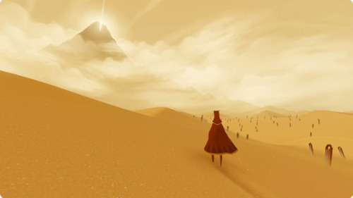 Journey This game was quite frankly one of the most amazing gaming experiences I have ever had.  The game is only 90 minutes long, however the game can make you involve your emotions to such an extent where when there are gameplay developments, you do become massively involved.  The soundtrack is also up there with best gaming soundtracks ever, and is definatly a must buy when it becomes available. The game consists of a clothed person wandering towards the only foreseeable goal, a mountain with a shining light.  There is no explicit backstory, but clues are giving to the nature of the world you inhabit by heiroglyphs and dreamlike visions.  Along your way you will find yourself accompanied by a stranger walking with you, and therefore a partner to wander with.  As I mentioned before about the emotional investement, this is multiplied when you make the journey with a friend. This is a must buy, and an experience that when you will have finished will have you wanting to play it again and again. Rating - *****