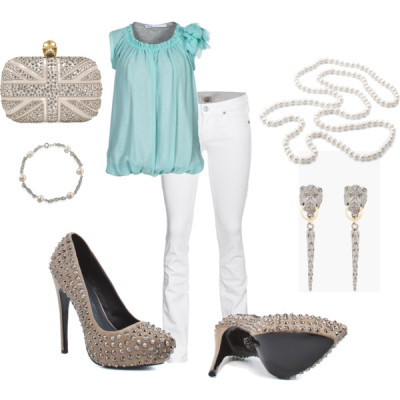 Edgy Romantic by chichififi featuring turquoise topsTurquoise top, £80True Religion straight jeans, €369Rock & Republic studded heels, $323Rock & Republic gray pumps, $323Alexander mcqueen handbag, $2,645Aspinal of London pearl jewelry, $115Fallon antique silver jewelry, $95Fresh water pearl jewelry, $40
