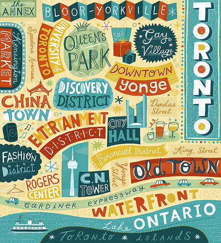 typeverything:  typeverything.com Toronto Map (by Linzie Hunter)   The top left corner? That's me.