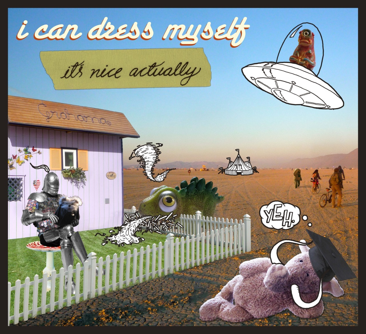 """it's nice actually,"" the debut album from i can dress myself, available April 7th, 2012. Album artwork by Graham McLeod and Max Poynton."