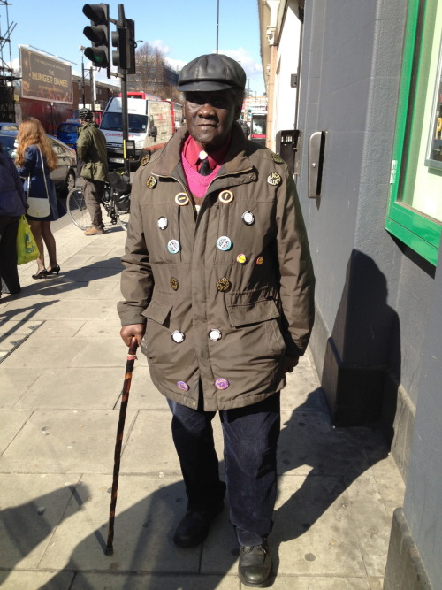 Badge man in Hackney Central