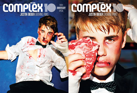 mtvstyle:  Justin Bieber gets knocked out of his tux for Complex  Is he posing…with meat?