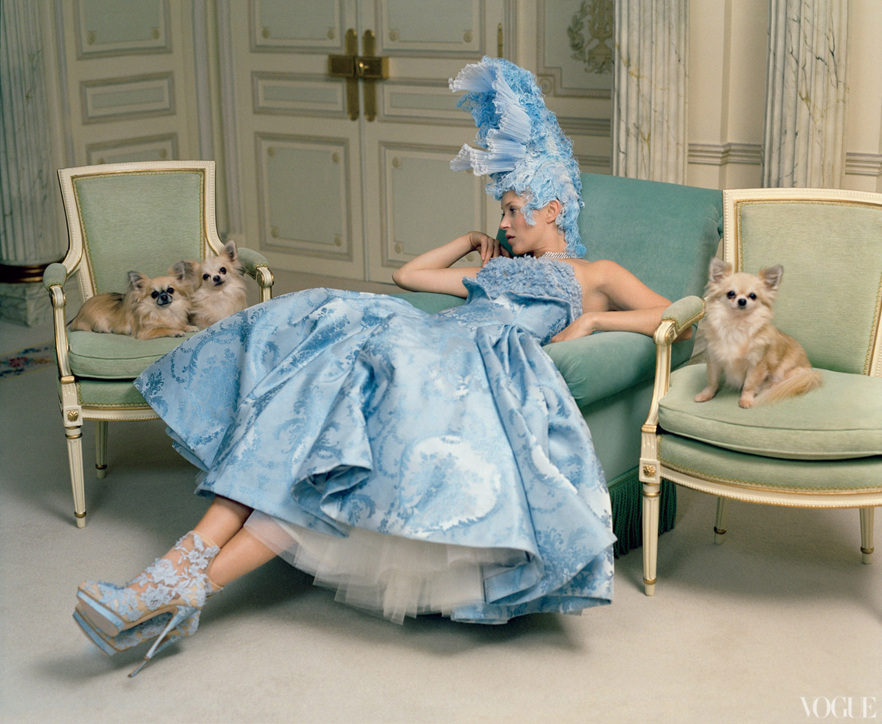 Kate Moss Photographed at the Ritz Paris by Tim Walker for the April Issue of Vogue