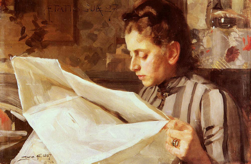 Zorn, Anders (Swedish, 1860-1920) - Emma Zorn Reading - 1887