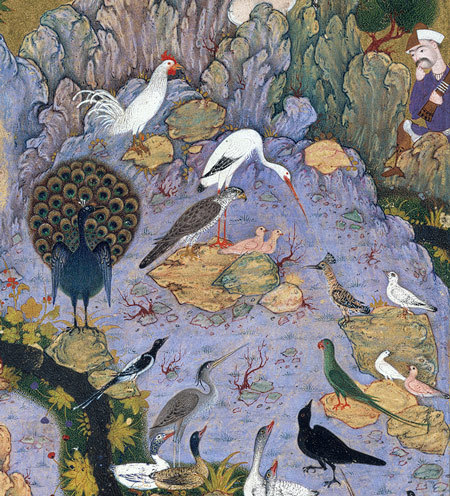 The Conference of the Birds: Page from a manuscript of the Mantiq al-Tayr (The Language of the Birds) of Farid al-Din cAttar, ca. 1600; Safavid Iran