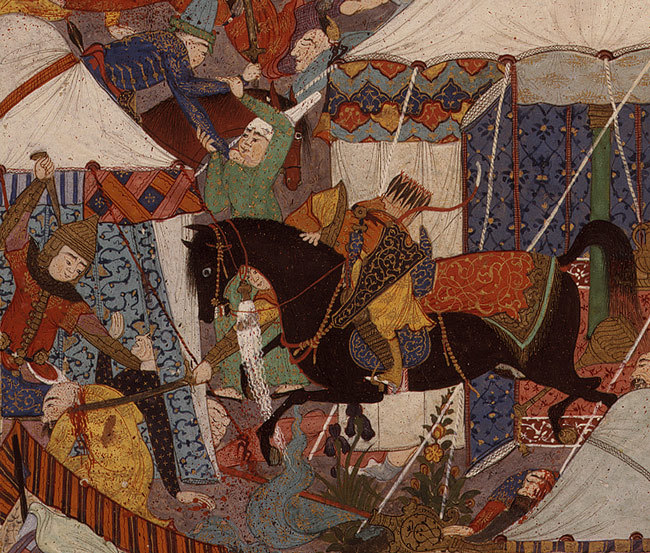 The Iranian Camp Attacked by Night: From the Shahnama (Book of Kings) of Shah Tahmasp, ca. 1520–25 Attributed to Qadimi Iran, Tabriz