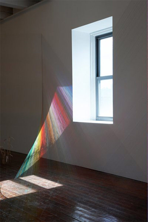 rainbow thread installation by Mark Garry