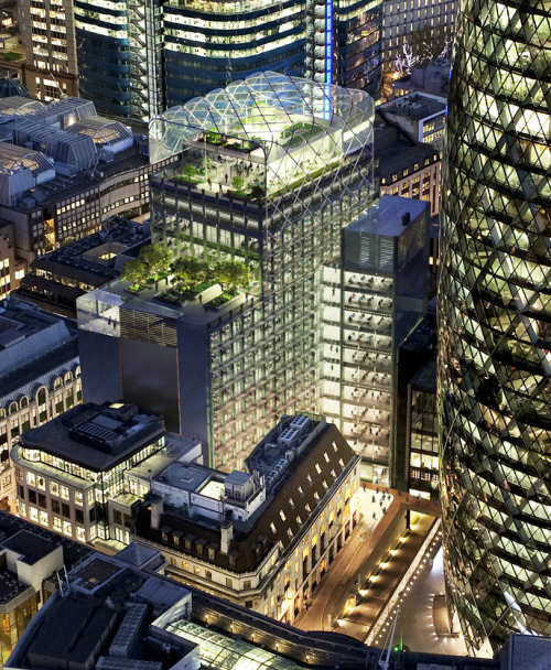 thisnewurbanity:  30 St Mary Axe's (the Gherkin's) new green neighbour, 6 Bevis Marks, by Fletcher Priest Architects, is currently under construction.