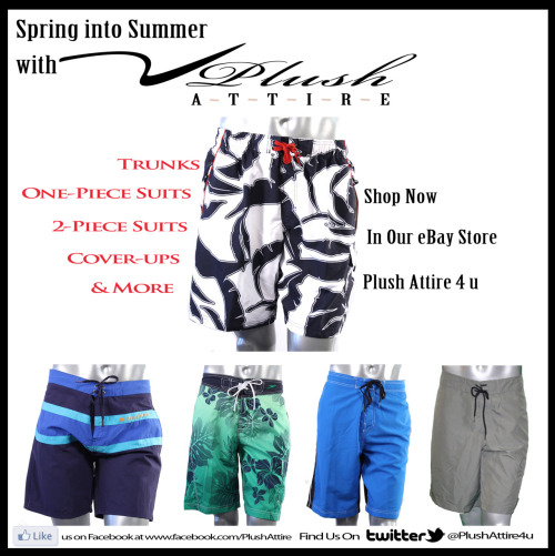 Get ready for summer with swimwear from Plush Attire! We offer Nike, Ralph Lauren, Speedo, Hobie, Hurley, Island Escape, Kenneth Cole Reaction, Becca, and much more!