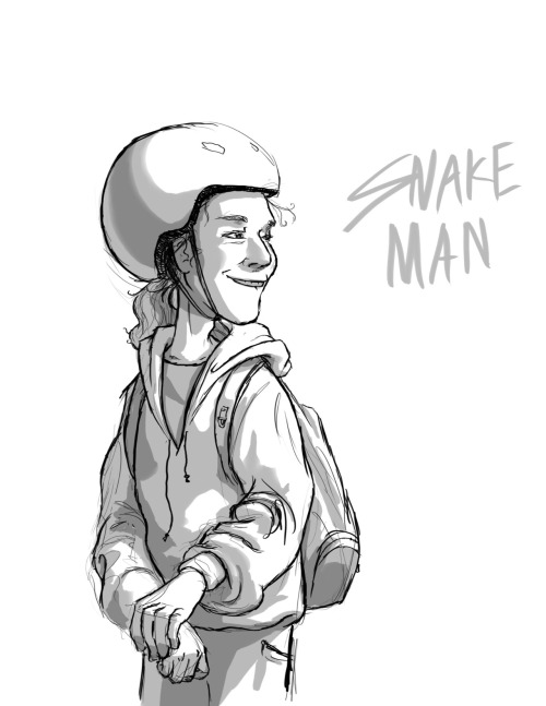 Daily doodle 4: SNAKE MAN!A caricature of an interesting fellow that stops in at my job, and chats with us about snakes. funny guy. :D
